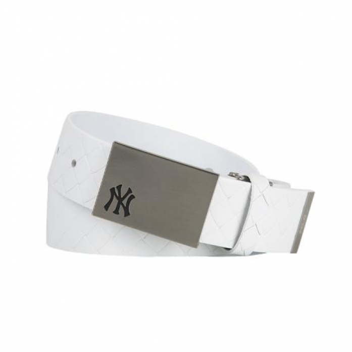 [MLB] New York Yankees Pattern Leather Golf Belt (White)