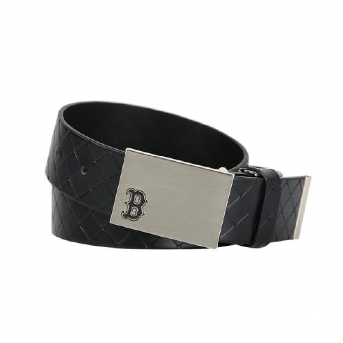 [MLB] Boston Red Sox Pattern Leather Golf Belt (Black)