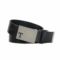 [MLB] Texas Rangers Solid Leather Golf Belt (Black)