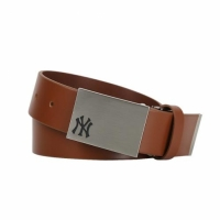 [MLB] New York Yankees Solid Leather Golf Belt (Tan)